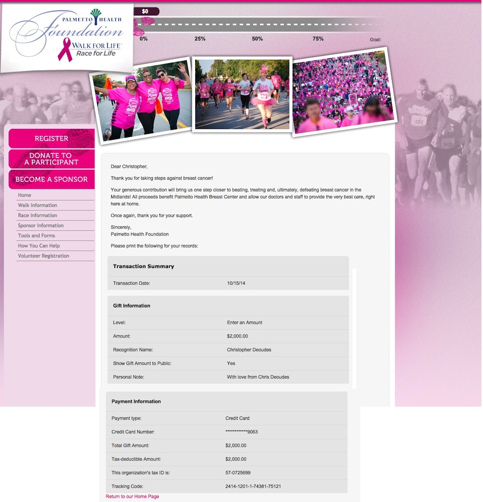 Donation to breast cancer