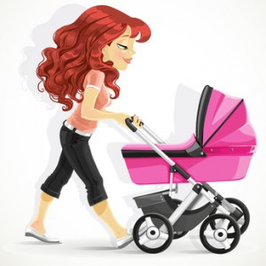 Cute mother with a  pink pram on walk
