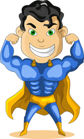 strong blue super hero