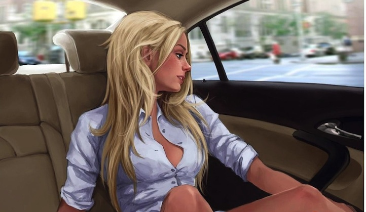 Hot blonde in a car
