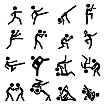 Sport Pictogram Icon Set 03 Martial Arts