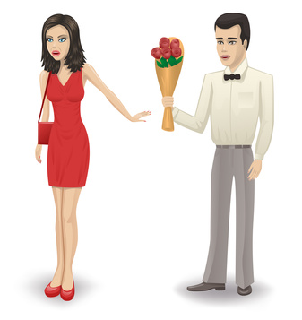 The man gives a girl a bouquet of roses. The girl refuses.