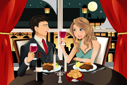 couple at dinner clipart