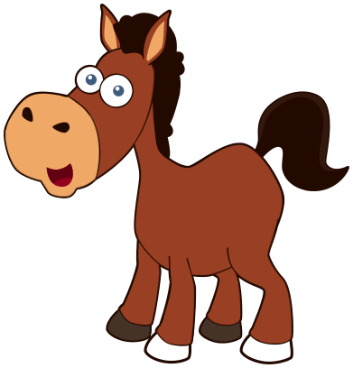horse cartoon brown