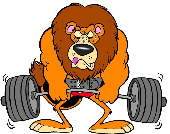 Weightlifting Lion Cartoon Clipart BluestemKS 1lg