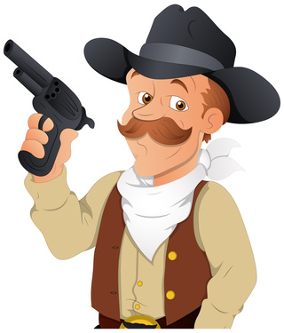 cowboy with gun clipart