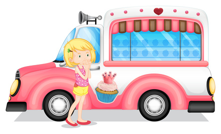 girl in front of ice cream truck