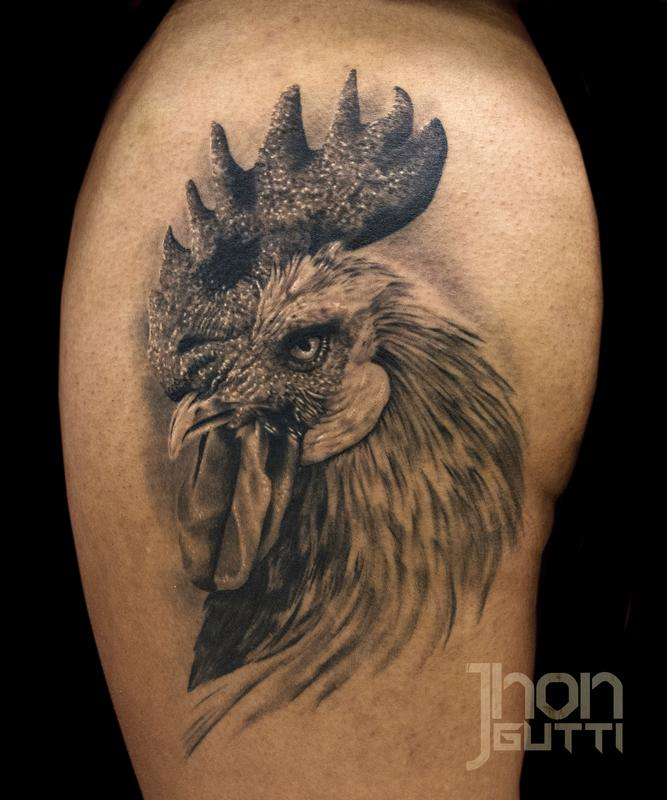 Grey-Ink-Rooster-Head-Tattoo-On-Shoulder.jpg