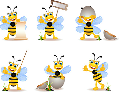 cute bee cartoon collection