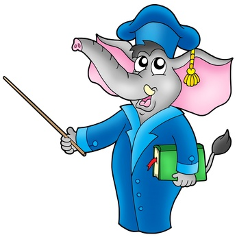 Cartoon elephant teacher