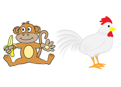 Chinese Zodiac Set 5 : Monkey And Rooster