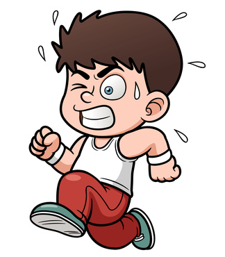 Vector illustration of a boy running