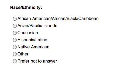 self report - race:ethnicity